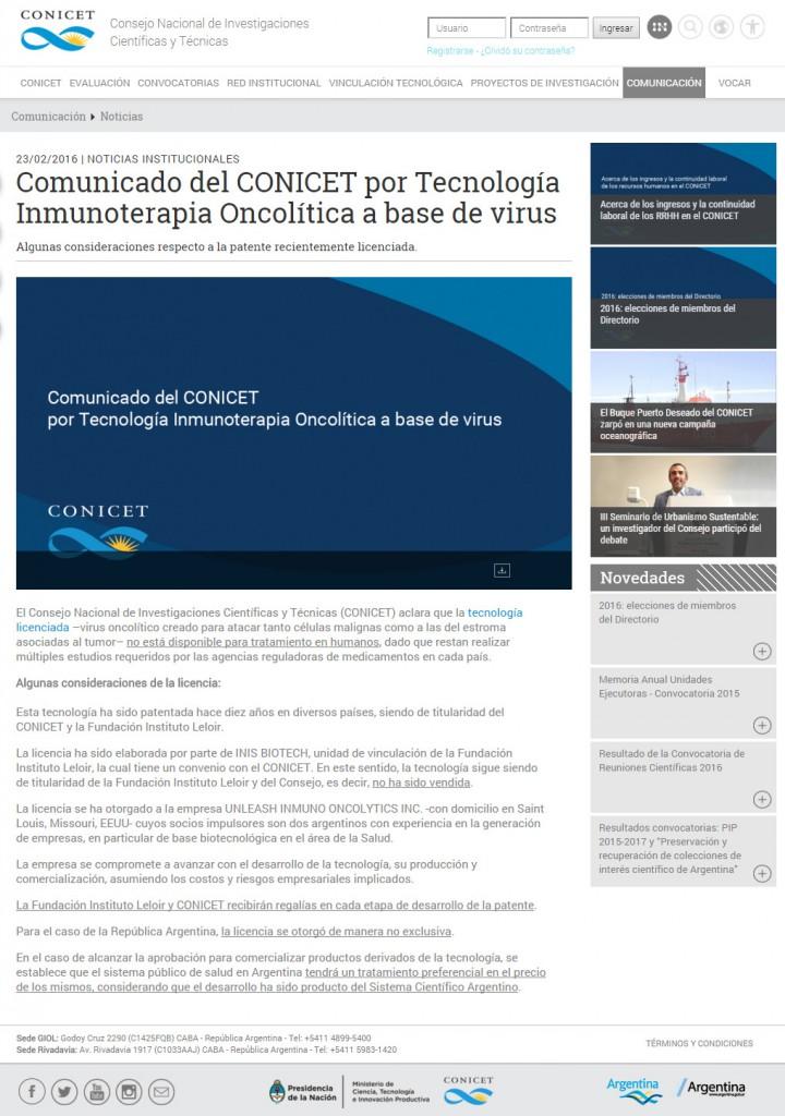 Comunicado del CONICET por Tecnología Inmunoterapia Oncolítica a base de virus