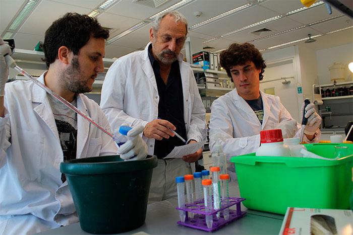 El doctor Eduardo Arzt con dos integrantes de su laboratorio en el IBioBA.