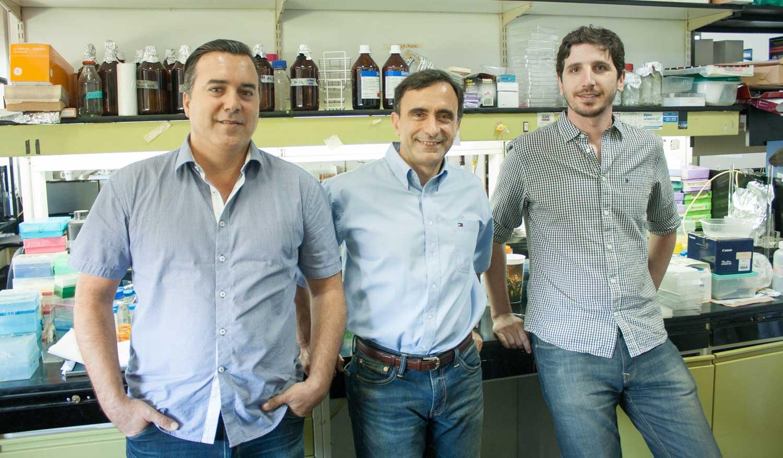 El líder del estudio, doctor Jorge Casal (centro), del IFEVA y del Instituto Leloir, el doctor Juan Ignacio Cagnola (der.), del IFEVA, y el doctor José Estévez, del Instituto Leloir
