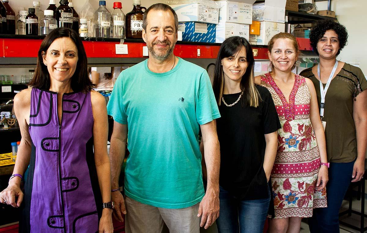 El doctor Fernando Pitossi, jefe del Laboratorio de Terapias Regenerativas y Protectoras del Sistema Nervioso en el Instituto Leloir, e integrantes de su grupo.
