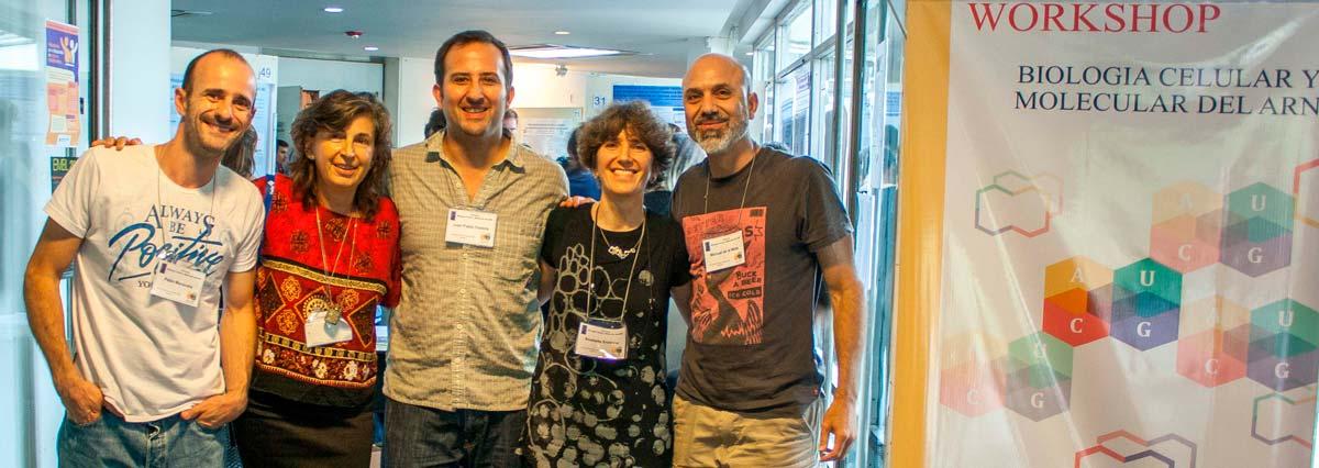 Los doctores Pablo Manavella (izq.), Graciela L. Boccaccio, Juan Pablo Fededa, Anabella Srebrow y Manuel de la Mata, organizadores del workshop.