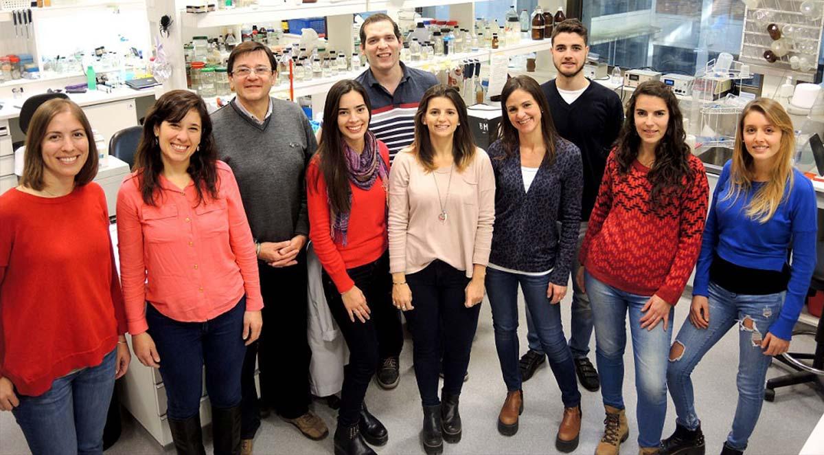 Eduardo Ceccarelli, jefe del Laboratorio de Estructura, Plegamiento y Función de Proteínas en el Instituto de Biología Molecular de Rosario (IBR), e integrantes de su grupo.