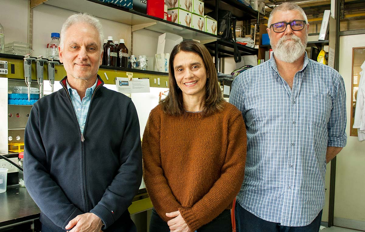 Osvaldo Podhajcer (izq.), Andrea Llera y Eduardo Cafferata, investigadores del Instituto Leloir y del CONICET.