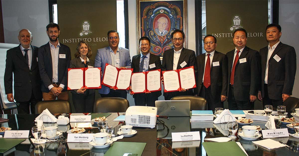 Autoridades del Instituto Leloir, de la Provincia de Hunan y de la Universidad de Hunan, China.