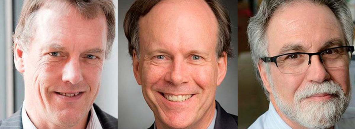 Los ganadores del Premio Nobel de Medicina 2019, Sir Peter J. Ratcliffe (izq.), William G. Kaelin Jr y Gregg L. Semenza.