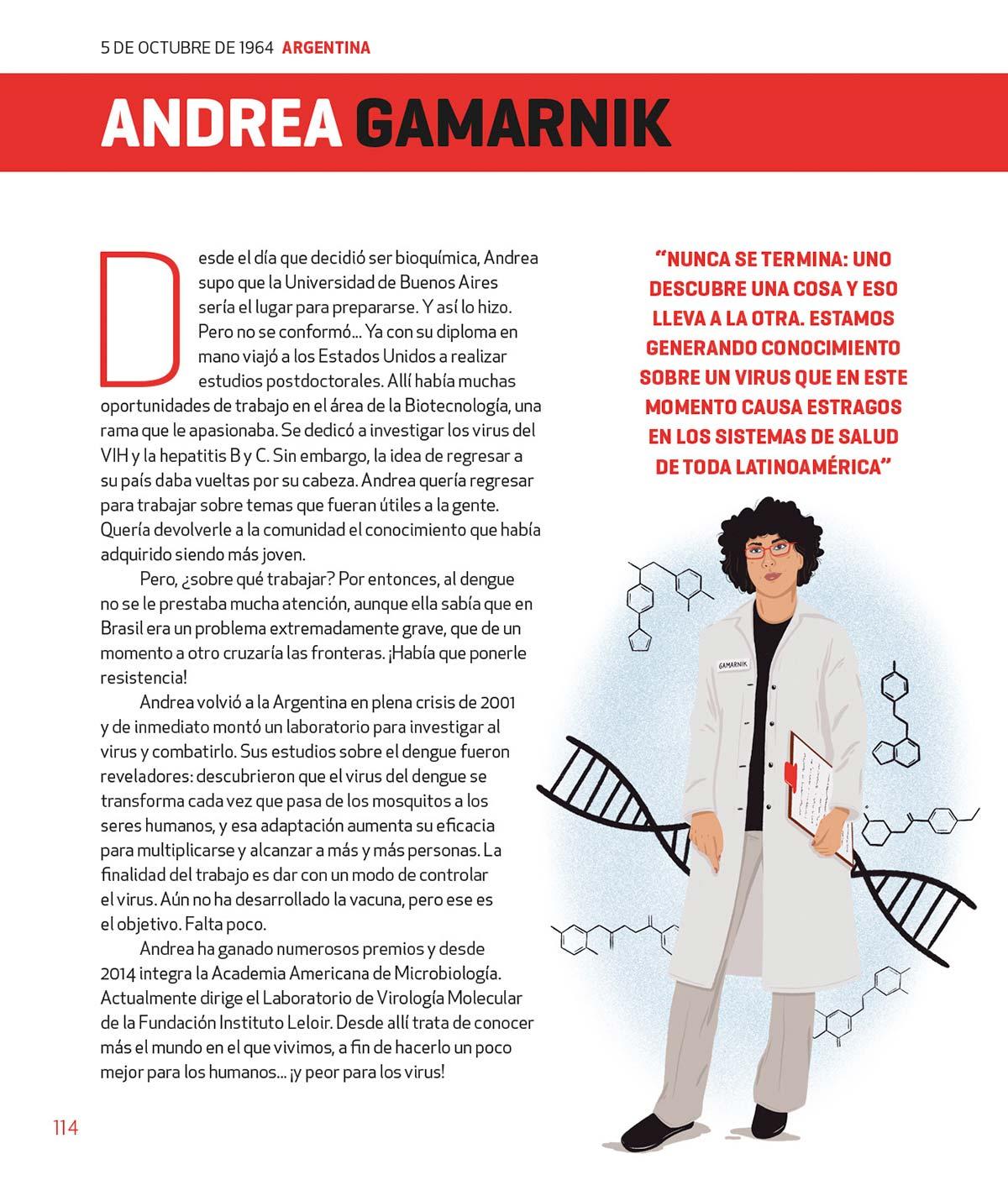 """En el libro """"100 Grandes Mujeres Latinoamericanas"""" de Billiken se describe la trayectoria de Andrea Gamarnik y sus estudios sobre el virus del dengue."""