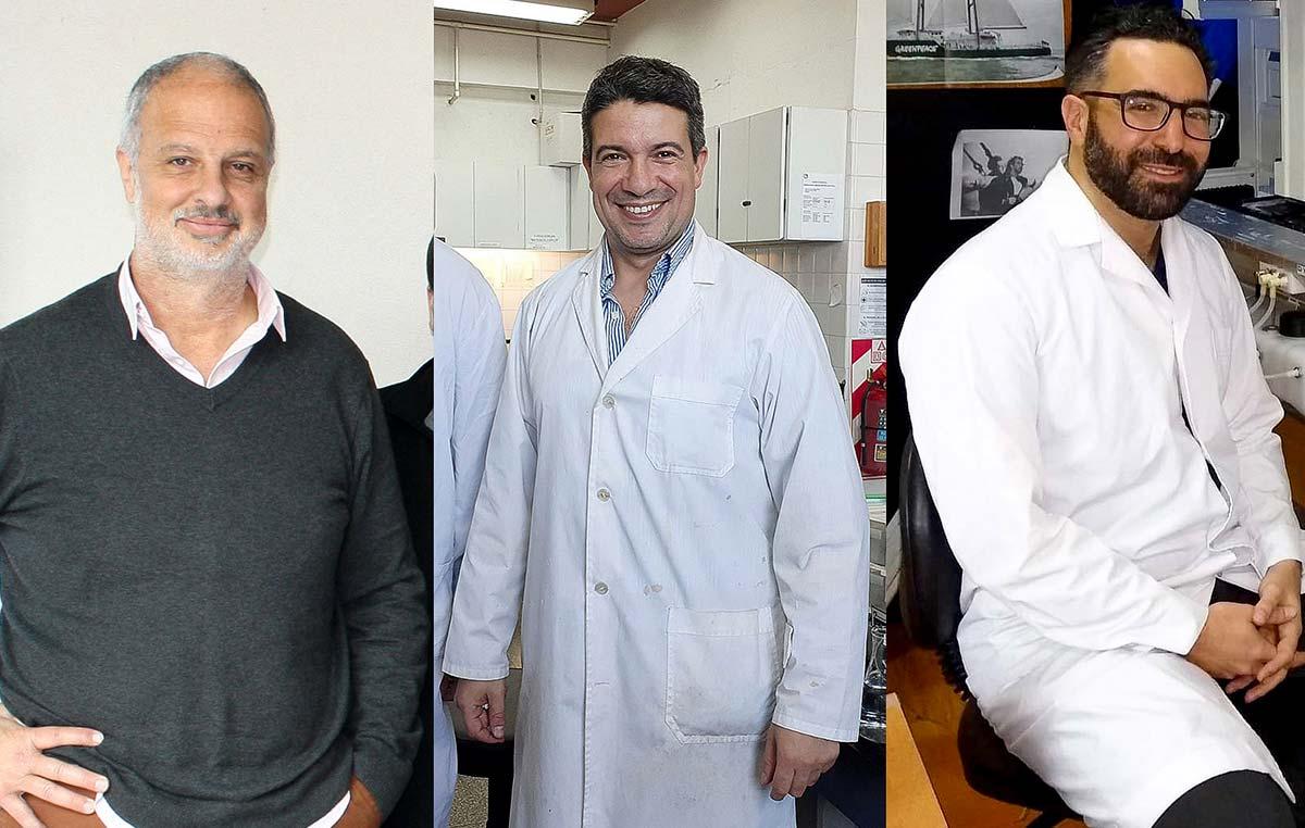 Los directores del avance, Gonzalo de Prat Gay (izq.) y Leonardo Alonso, y el primer autor del estudio, Damián Alvarez-Paggi.