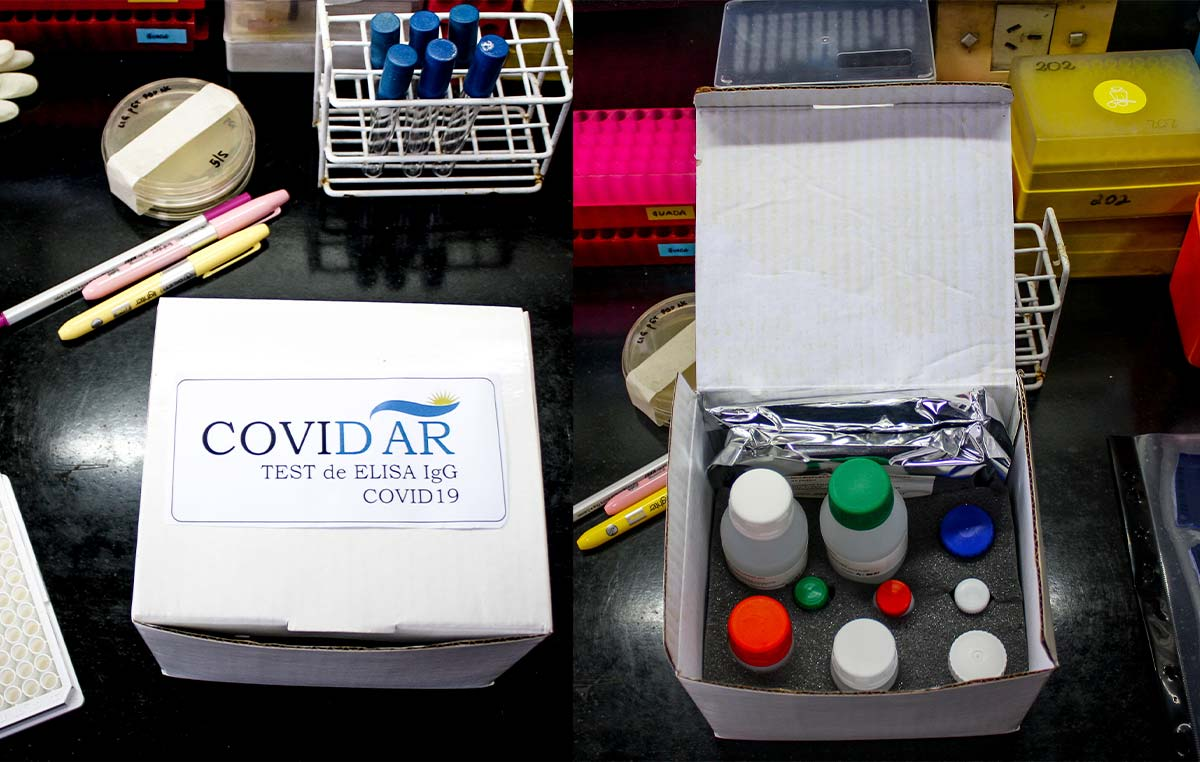 """El test serológico """"COVIDAR IgG"""" fue validado con 5000 análisis en distintos centros de salud con excelentes resultados.Fue registrado en ANMAT y ahora está en curso la etapa de producción."""