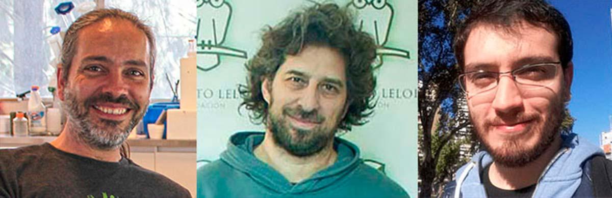 Los directores del estudio, Fernán Agüero (Izq.) y Ariel Chernomoretz, y el primer autor del trabajo, Lionel Urán Landaburu.